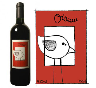 Oiseau, vin rouge biologique